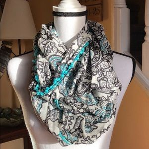 Accessories - paisley infinity scarf with pom poms black/teal